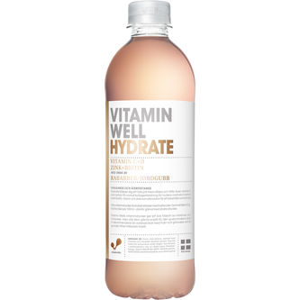 Hydrate Rabarber/jordgubb Stilla Vatten Pet 50cl Vitamin Well